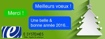 Toute l'équipe de E SYSTEMES vous souhaite une belle année 2016 !