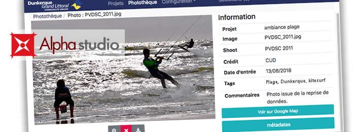 Vue d'une photo dans le module photothèque de l'application web pour les photographes Alpha Studio