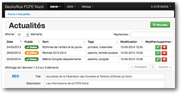 L'interface du Back Office et de la gestion de contenu