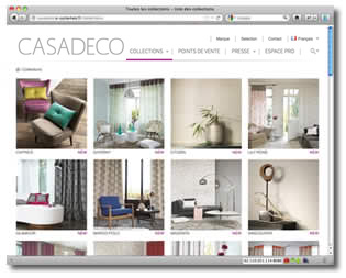 Site web CASADECO, la liste des collections
